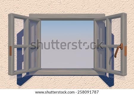Open window over blue sky, 3d render - stock photo