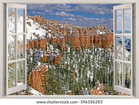 Open window panoramic view on Bryce canyon national park in winter sunny day - stock photo