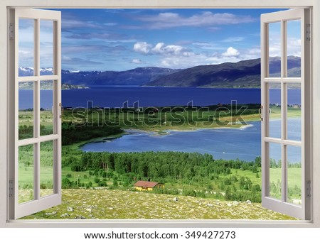 Open window panoramic view to river with farmland and mountains, Norway - stock photo