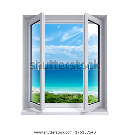 Open window to the sea - stock photo