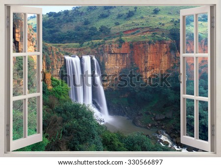 Open window view to Elands River Falls in Mpumalanga state of South Africa - stock photo