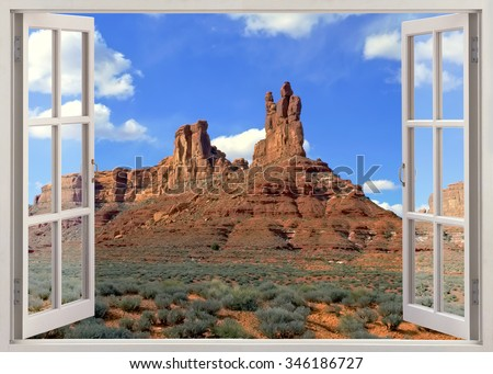 Open window view to famous desert with red rocks near Moab, Utah - stock photo