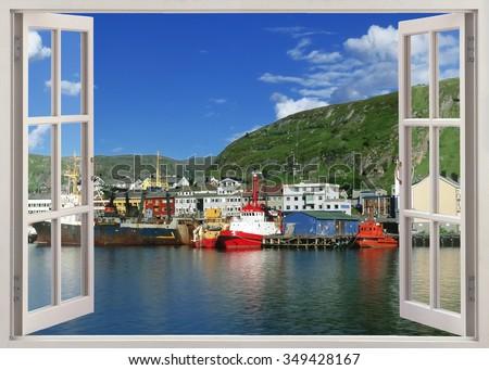 Open window view to Kirkenes harbor, Norway - stock photo