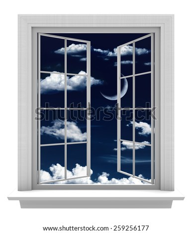Open window with a beautiful crescent moon and clouds in a night sky - stock photo