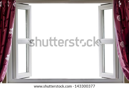 Open window with a white background and curtains - stock photo