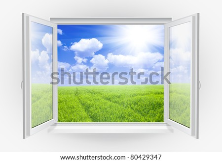Open window with green grass on a background - stock photo