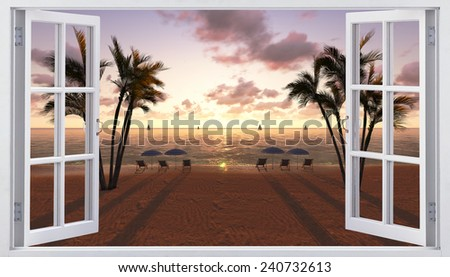 Open window with sea view - stock photo