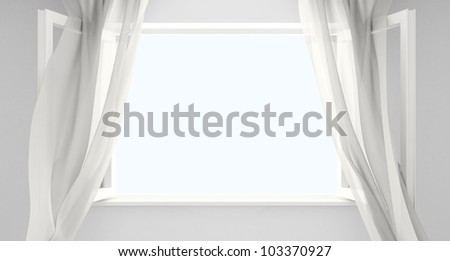 Open window with the curtains developed by a wind. Background for your picture. - stock photo