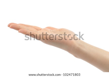 Open woman hand on white background - stock photo