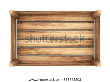 open wooden box. close up. 3d illustration - stock photo