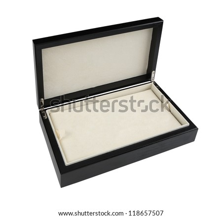 Open wooden box with leather interior isolated on white background - stock photo