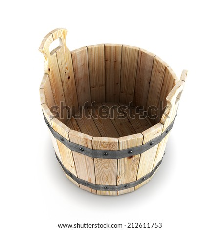 Open wooden bucket isolated on white background. 3d render image. - stock photo