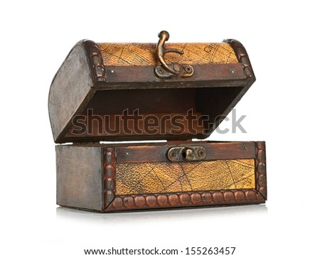 open wooden chest isolated on white background - stock photo