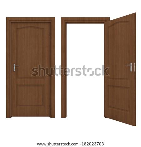 Open wooden door - stock photo
