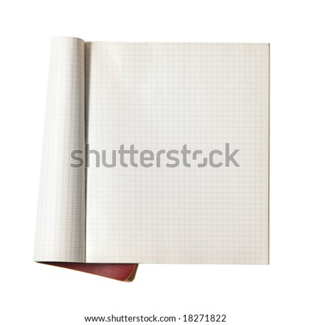 Open writing-book isolated over white background - stock photo