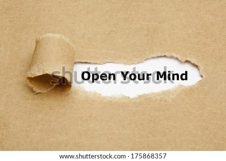 Open Your Mind appearing behind torn brown paper.  - stock photo