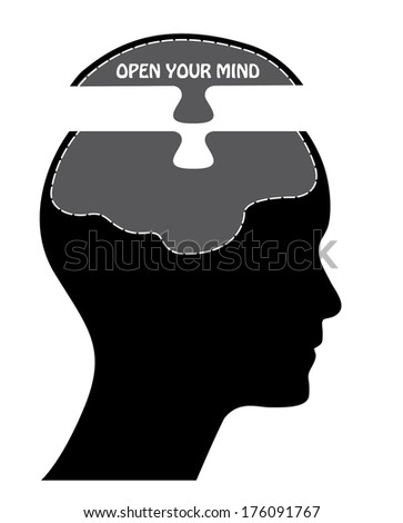 Open your mind concept illustration, raster version. - stock photo