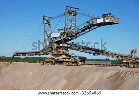 Opencast Coal Mining Excavator/Backfiller - stock photo
