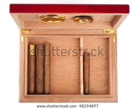 Opene humidor with cigars isolated on white background - stock photo