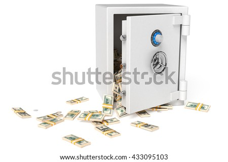 Opened bank safe with money stacks against white background. High quality 3d render. - stock photo
