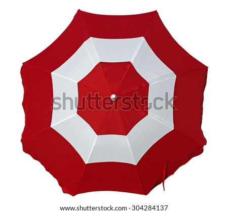 Opened beach umbrella with red and white stripes isolated on white. Top view. Clipping path included. - stock photo