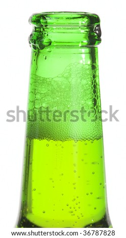 Opened beer bottle, closeup, isolated - stock photo