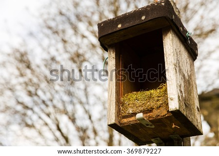 opened birdhouse with old nest in it - stock photo