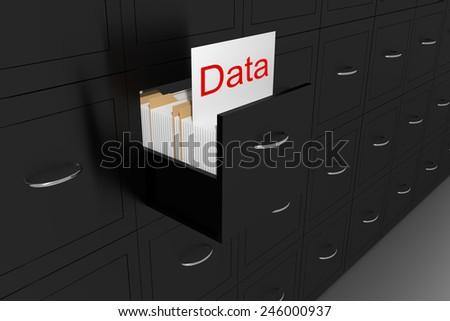 opened black file cabinet white document data 3d illustration - stock photo