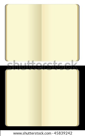 opened blank moleskine note books - soft pages texture - isolated on black and white - stock photo