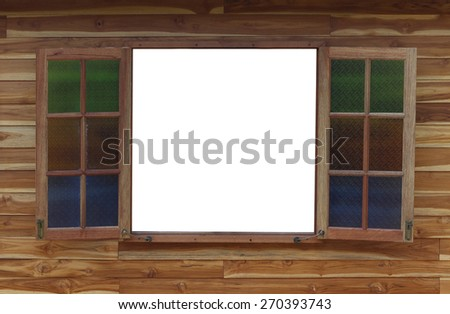 opened blank window frame - stock photo