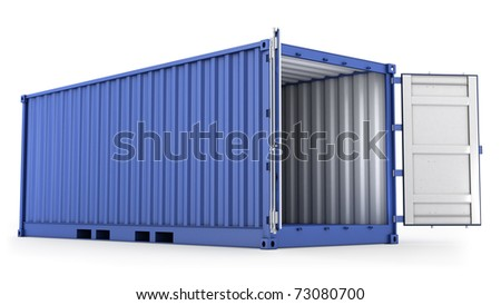 Opened blue freight container isolated on white background - stock photo