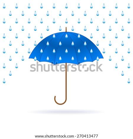 Opened blue umbrella and rain on white background. Raster version. - stock photo