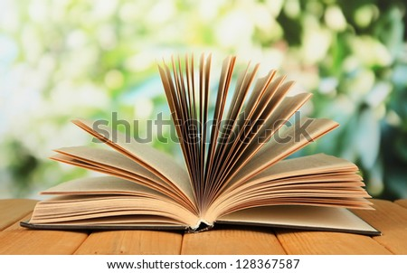 Opened book on bright background - stock photo