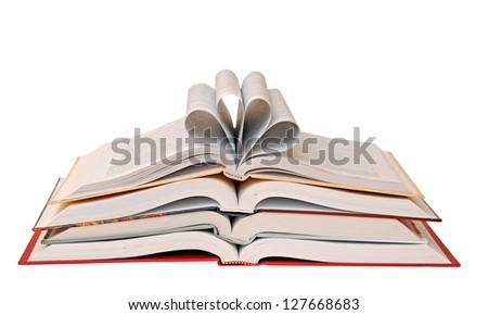 opened books isolated on white background - stock photo