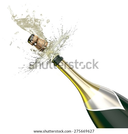 Opened bottle of champagne foaming with flying cork close-up. This illustration represents the celebration. - stock photo