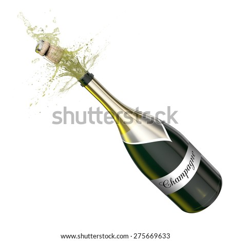 Opened bottle of champagne foaming with flying cork. This illustration represents the celebration. - stock photo