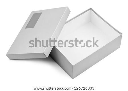 Opened box isolated on white background - stock photo