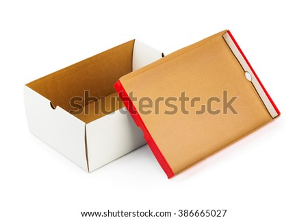 Opened box isolated on white background - stock photo