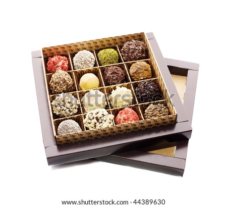 Opened box of sweets - stock photo
