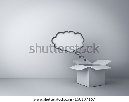 Opened box with blank thought bubble over empty white wall background , Think outside the box concept - stock photo