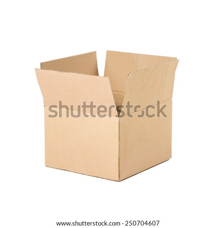 Opened brown carton shipping box. Isolated on white background. - stock photo