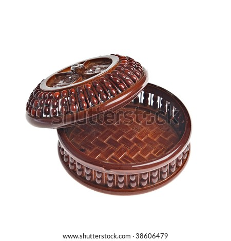 Opened brown decorative box over white background - stock photo