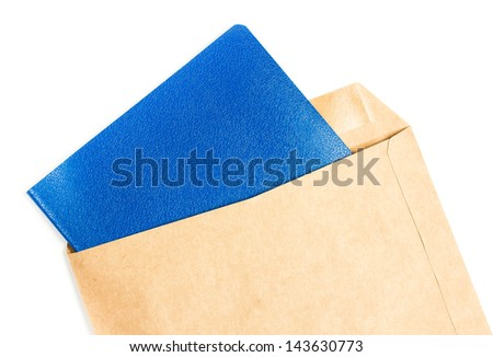 Opened brown Recycle  Big  envelope with blue color  paper letter inside on white background, closeup - stock photo