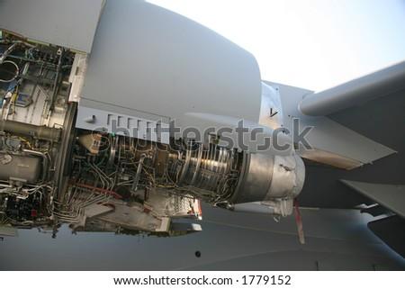 Opened C-17 Military Aircraft Engine - stock photo