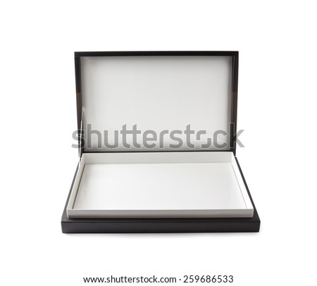 opened cardboard box , isolated , clipping path - stock photo