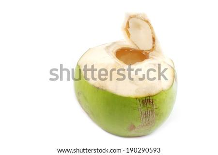 Opened coconut isolated on white background - stock photo