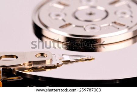 Opened computer hard drive closeup top view photo - stock photo