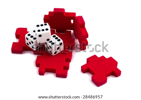 Opened cube puzzle. Concept of problem solved. But still an element of chance, signify by the dice. Isolated on white background. - stock photo