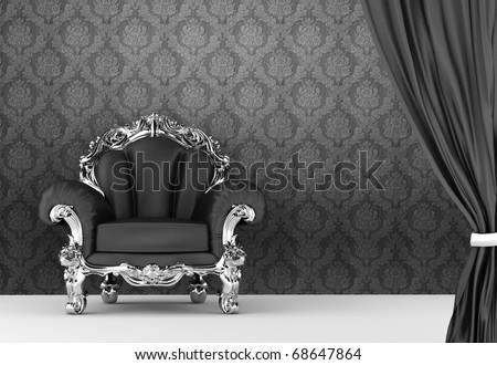 Opened curtain with  baroque armchair on wallpaper background. Interior - stock photo