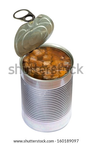 Opened dog or cat canned food isolated on white background. Clipping path - stock photo